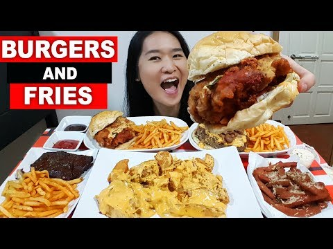 BURGERS & FRIES FEAST! BBQ Pork Ribs, Nacho Cheese, Spam, Beef & Fried Chicken | Eating Show Mukbang