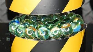200 TON HYDRAULIC PRESSURE VS GLASS BALLS   - EXPERIMENT