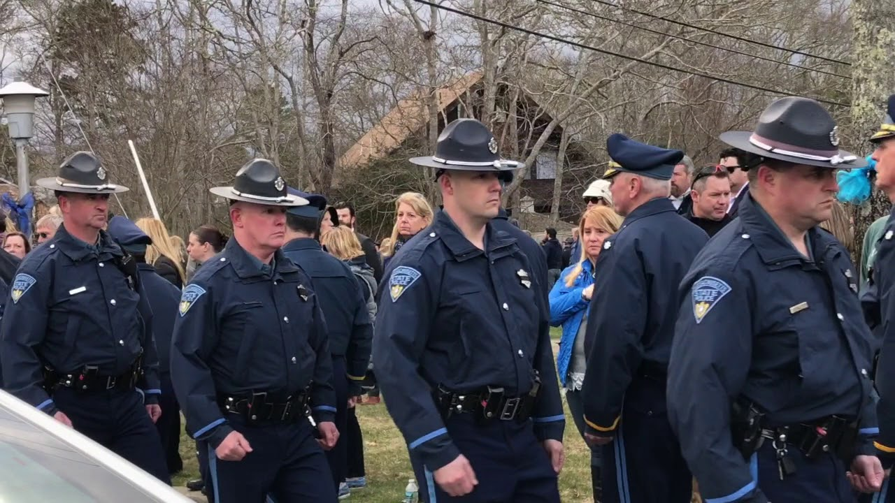 Yarmouth Police Officer Sean Gannon: Police procession into St  Pius X  Church