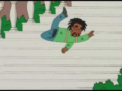 Fat black man falling