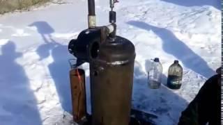 Двух контурная печь на отработанном масле с газового балона