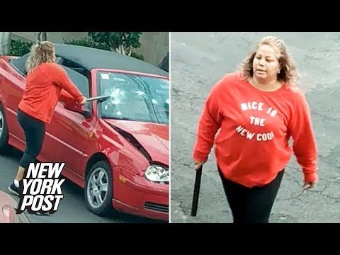 Woman smashes car with a pipe while wearing 'Nice is the new cool' sweatshirt | New York Post