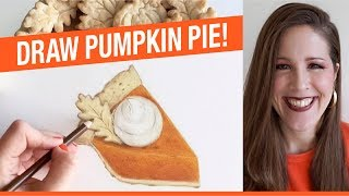 How To Draw Pumpkin Pie! How To Draw Thanksgiving Things!