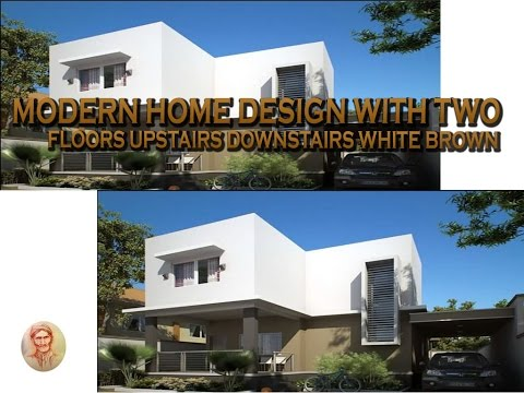 modern home design with two floors upstairs downstairs white brown ...