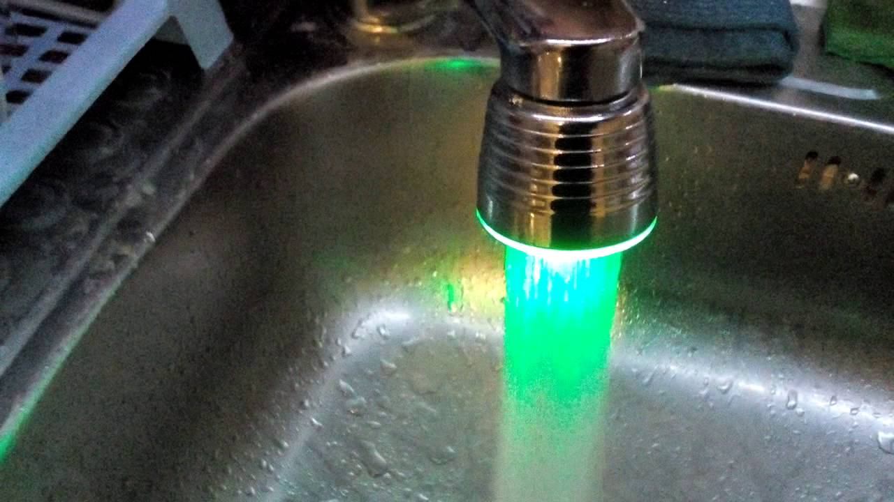 Led faucet changing light temperature sensor from everbuying - YouTube