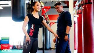 Michelle Waterson Demonstrates Variety of Kicking Techniques