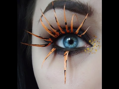 Smokey Eye and DIY Orange Spider Lashes