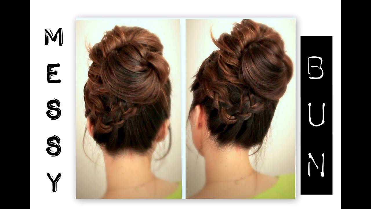 ☆ CUTE, EVERYDAY SCHOOL HAIRSTYLES | BIG, MESSY BUN WITH BRAIDS UPDOS FOR  MEDIUM LONG HAIR TUTORIAL   YouTube