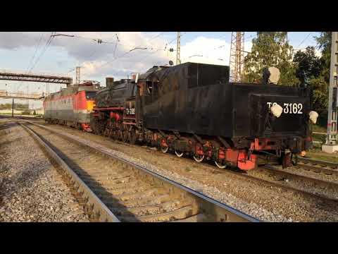 Паровоз ТЭ-3162 в сплотке с электровозом ЧС7-248