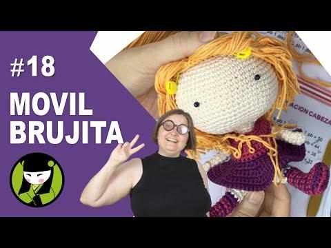 Como poner PELO a la brujita a crochet 18 AMIGURUMI