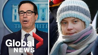 Greta Thunberg says U.S. Treasury Secretary's degree dig had .no effect. on her, From YouTubeVideos
