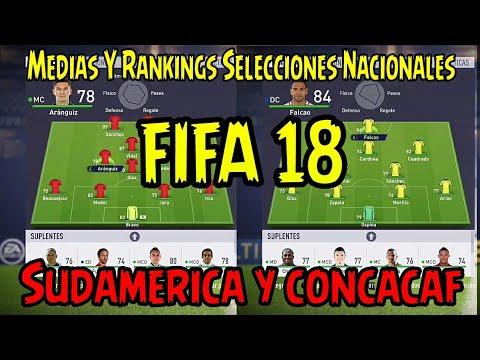 Medias de Selecciones: Sudamerica y concacaf FIFA 18 - Rankings, Kits, Latinoamerica