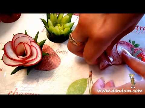 Декорация с нож за карвинг - роза от репички www.dendom.com