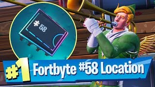 fortnite fortbyte 58 location accessible by using the sad trombone emote north end snobby shores