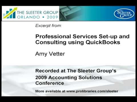 Professional Services Set-up and Consulting using QuickBooks - Excerpt