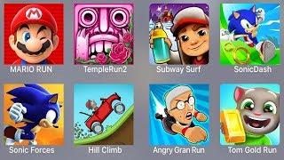 Mario Run,Temple Run 2,Subway Surfer,Sonic Dash,Sonic Forces,Hill Climb,Angry Grand Run