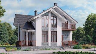Проект дома в скандинавском стиле из пеноблока. Дом с сауной и террасой. Ремстройсервис М-370
