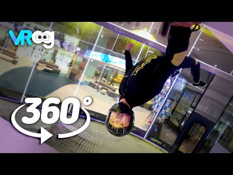 Indoor Skydiving, rise to the maximum height! -360° VR video (5K)