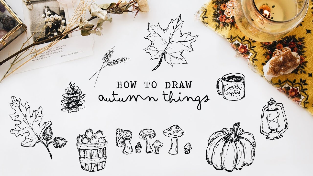 how to draw autumn things (+ free printable) - YouTube