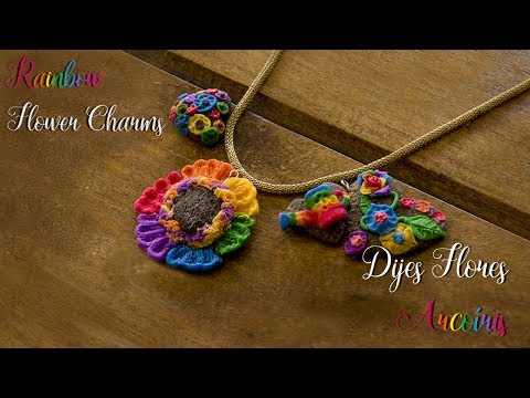 Girasol 🌻 Flores de Colores 🌸 Joyería a mano PORCELANA FRÍA ♥Rainbow Flower Jewelry Charms