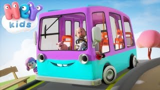 The Wheels On The Bus Go Round And Round song - HeyKids Nursery Rhymes