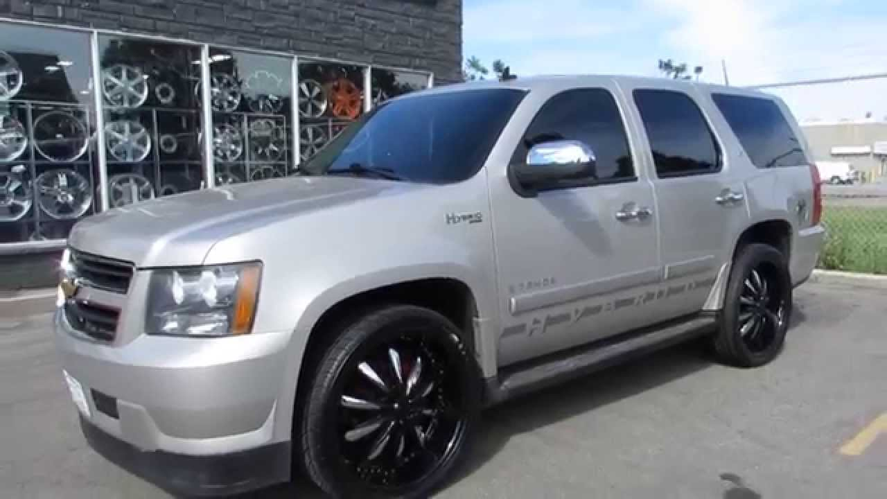 Hillyard Rim Lions 2008 Chevrolet Tahoe Hybrid With Custom 24 Inch Rims Tires Black Chrome