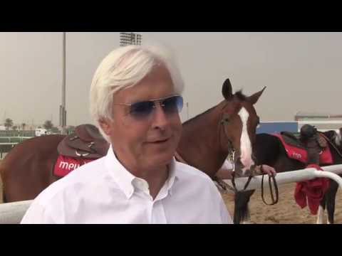 Trainer Bob Baffert and Arrogate at Meydan on March 20, 2017