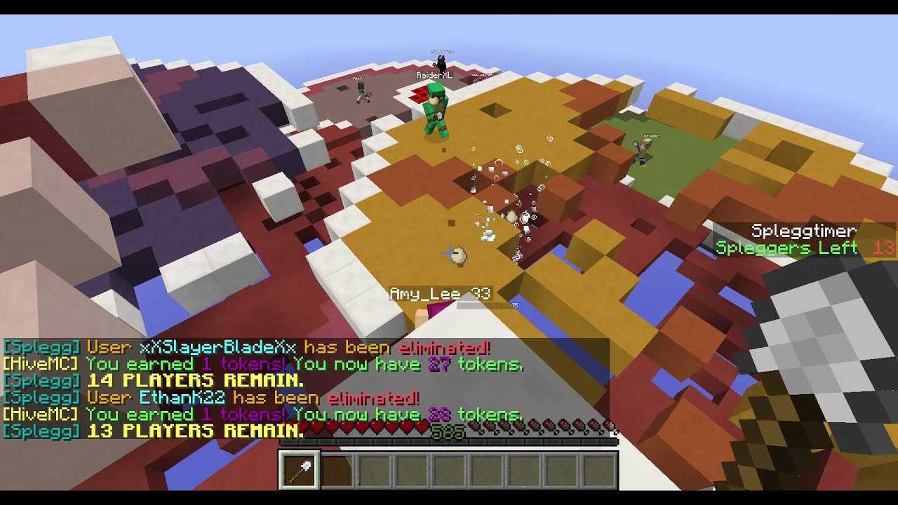 Minecraft: Splegg games against AmyLee - The other night I was against AmyLee33 in a couple of rounds of Spleef, for my first time in a Spleef match I did very well.