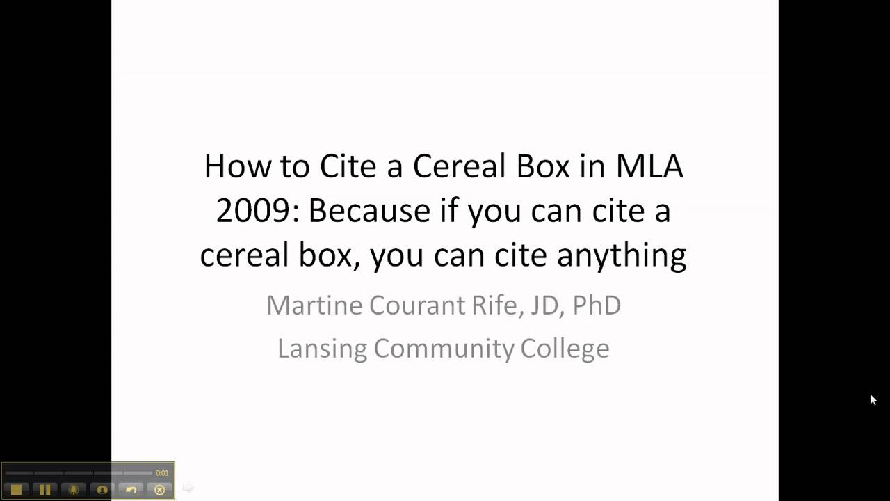 How To: Cite A Cereal Box In Mla Format