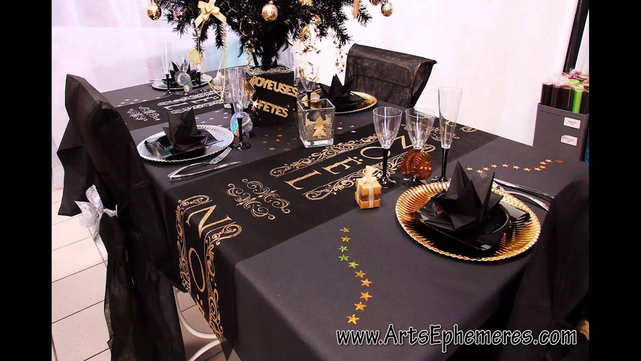 Table de no l noire et or arts eph m res youtube for Revue art et decoration