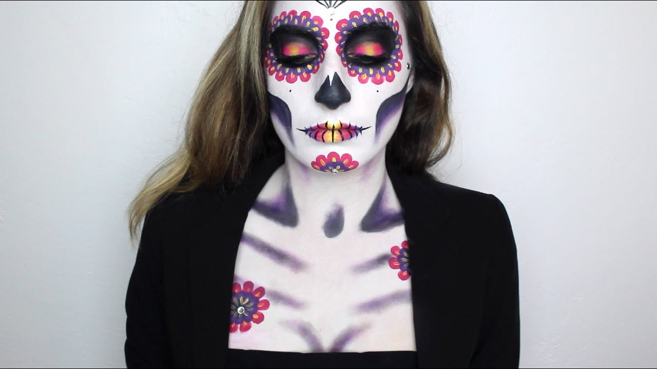 dia de los muertos day of the dead sugar skull makeup tutorial haley ivers youtube