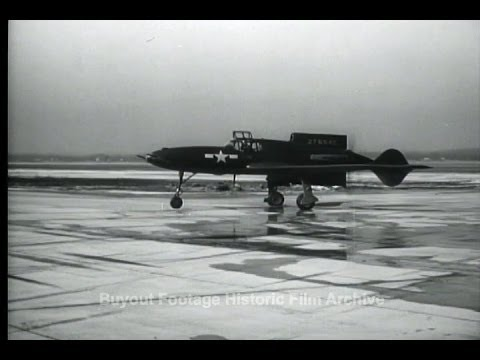 HD Historic Archival Stock Footage WWII New Fight Plane Flies Tail First