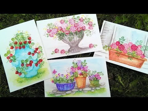 Easy Freehand Watercolor Pots to go with your Small Flower Stamps!