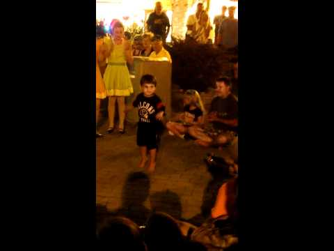Boy dancing to bluegrass music in Gatlinburg, TN