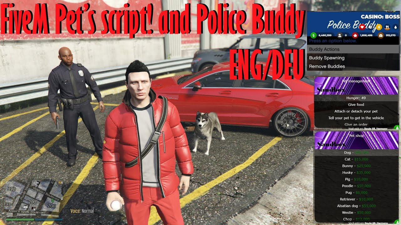 Gta V FiveM Pet Script and Police Buddy ENG/DEU