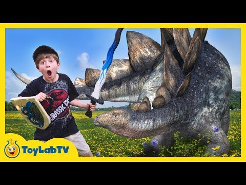 GIANT LIFE SIZE DINOSAURS! Park Ranger LB Epic Battle w/ Dinosaur Kids Family Fun Outdoor Activities