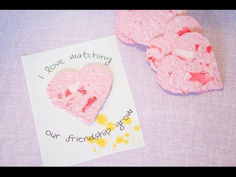 Recycled Seed Paper Hearts Tutorial - Homemade Valentines Day Crafts