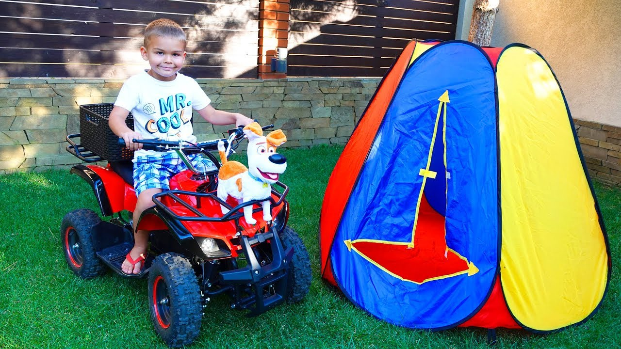 Dima go to the picnic on his power wheels Quad Bike