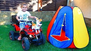 Funny Dima go to the picnic on his POWER WHEELS Quad Bike and found new friend dog Max