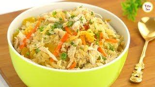 Chicken Cauliflower Fried Rice Recipe for kids by Tiffin Box | How To Make Cauliflower Rice ,Healthy