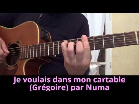 Je voulais dans mon cartable (Grégoire)(Pierre Ruaud) guitar cover reprise