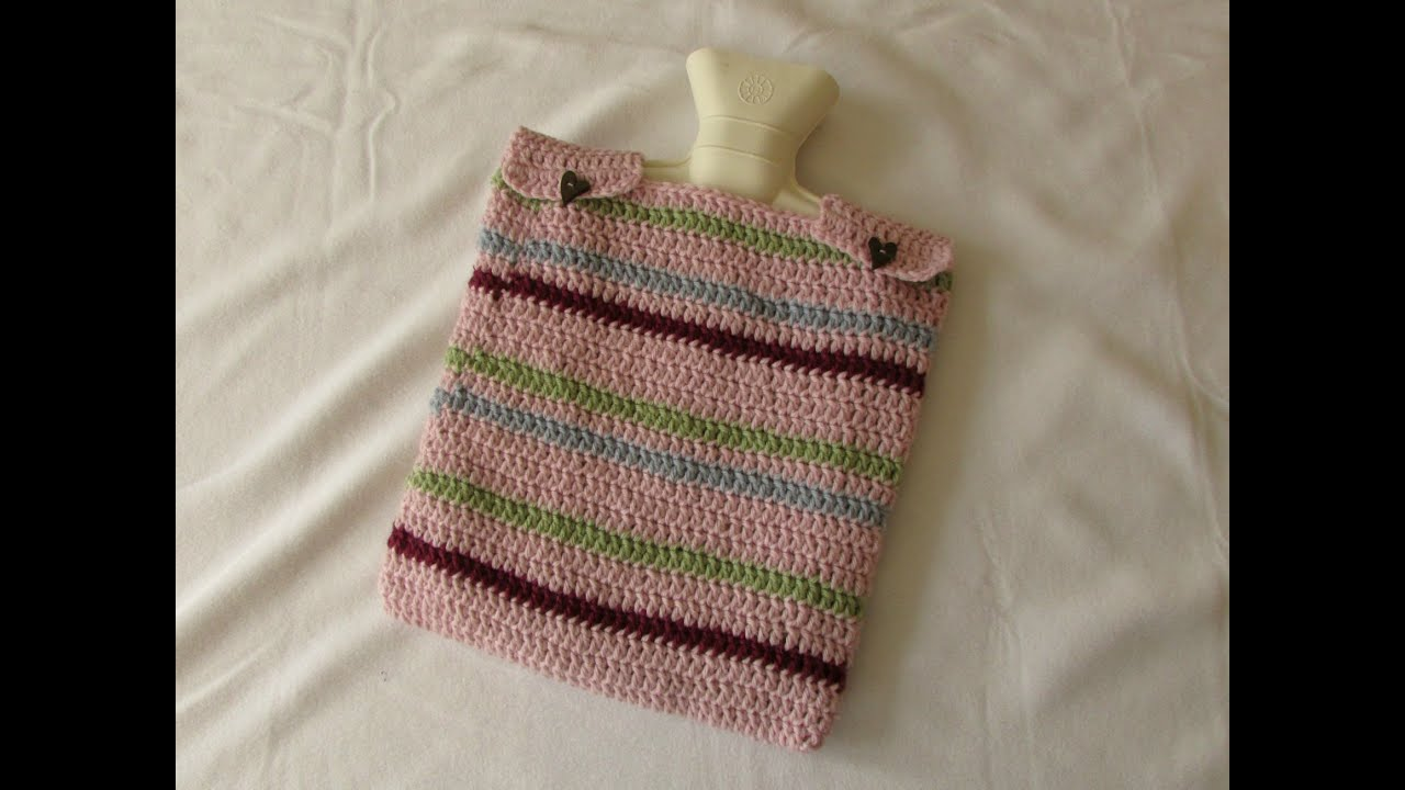 VERY EASY crochet hot water bottle cover / cosy tutorial - YouTube