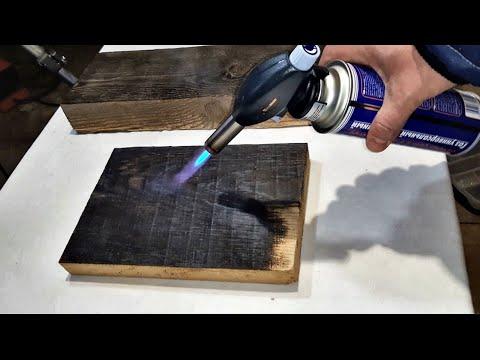 Обжиг, браширование и пропитка маслом сосновой и дубовой доски wood aging