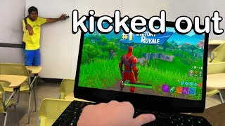 I WIN Fortnite with a SCHOOL COMPUTER during CLASS