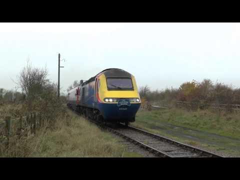 EMT HST 43045 + 43054 Arrive at Ruddington GCR Nottingham 15/11/2014