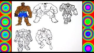 Superheroes Hulk, Thanos, Hulkbuster, Fantastic 4, Venom Coloring pages  for kids
