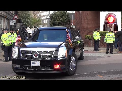Secret Service in Action: President Obama Motorcade in London Leaving Theatre