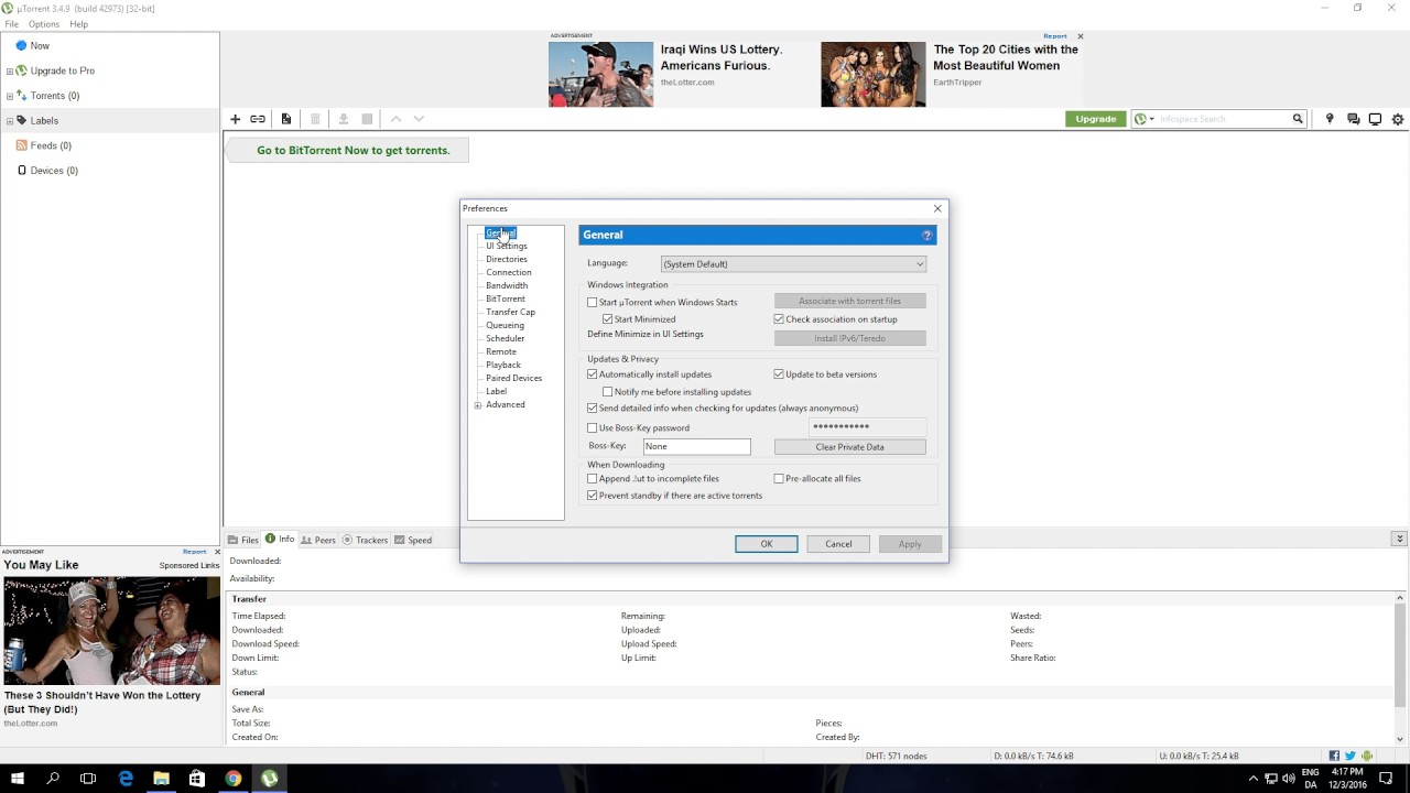 How to Disable Update to Beta Versions In Utorrent