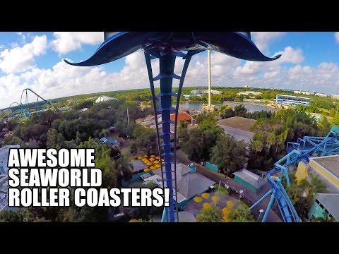 3 Awesome Roller Coasters! Mako! Manta! Kraken! SeaWorld Orlando!