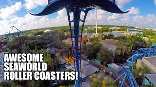 3 Awesome SeaWorld Orlando Roller Coasters! Mako! Manta! Kraken!